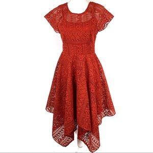 Maeve Anthropologie Orange Lace Prima Dress 2